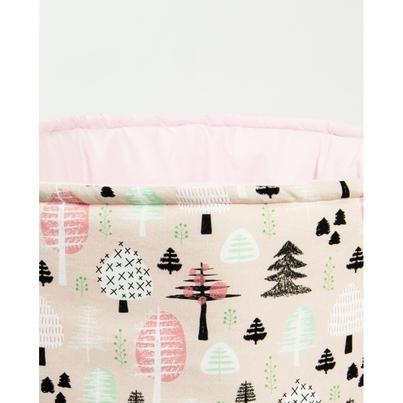Materiałowy kosz na zabawki z uszami dla dziewczynki - Różowy Las dla dzieci