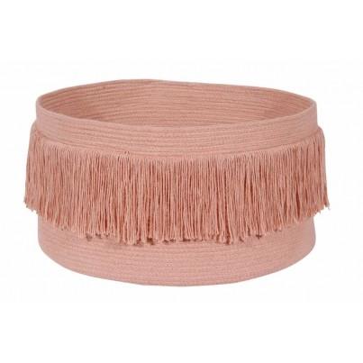 Dziecięcy Kosz na zabawki pleciony z frędzlami - Fringes Sahara Nude Różowy Lorena Canals dla dziewczynki