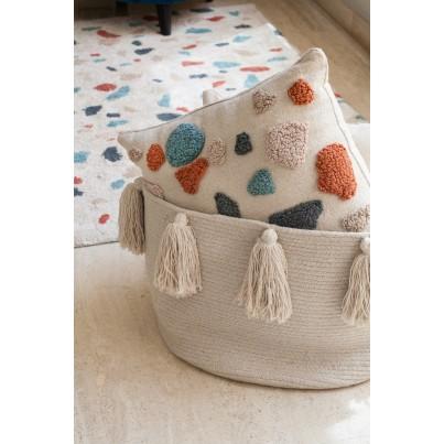 Kosz na zabawki pleciony z frędzlami - Tassels Natural Beżowy Lorena Canals dla dzieci