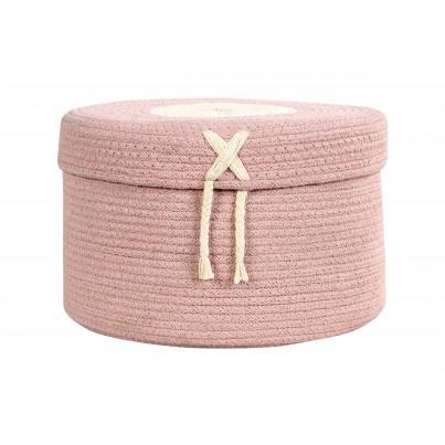 Dziecięcy Pleciony kosz na zabawki zamykany - Candy Box Vintage Nude Różowy Lorena Canals dla dziewczynki