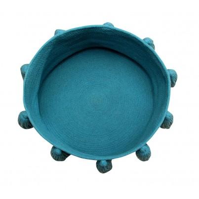Kosz na zabawki pleciony z frędzlami - Tassels Petroleum Turkusowy Lorena Canals dla dzieci