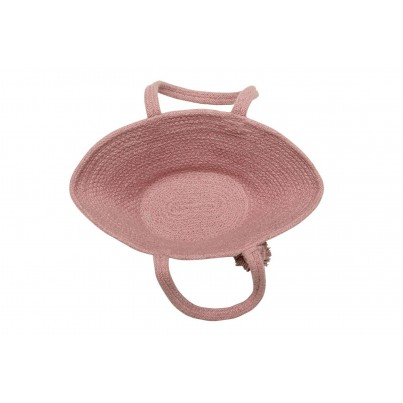 Dziecięcy Kosz na zabawki pleciony z uszami - Cistell Ash Rose Różowy Lorena Canals dla dziewczynki