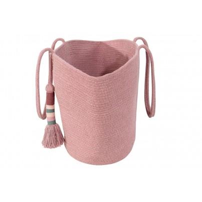 Dziecięcy Kosz na zabawki pleciony z uszami - Cistell Ash Rose Small Różowy Lorena Canals dla dziewczynki