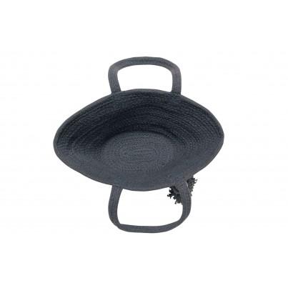 Kosz na zabawki pleciony z uszami - Cistell Small Dark Grey Ciemny Szary Lorena Canals dla dzieci