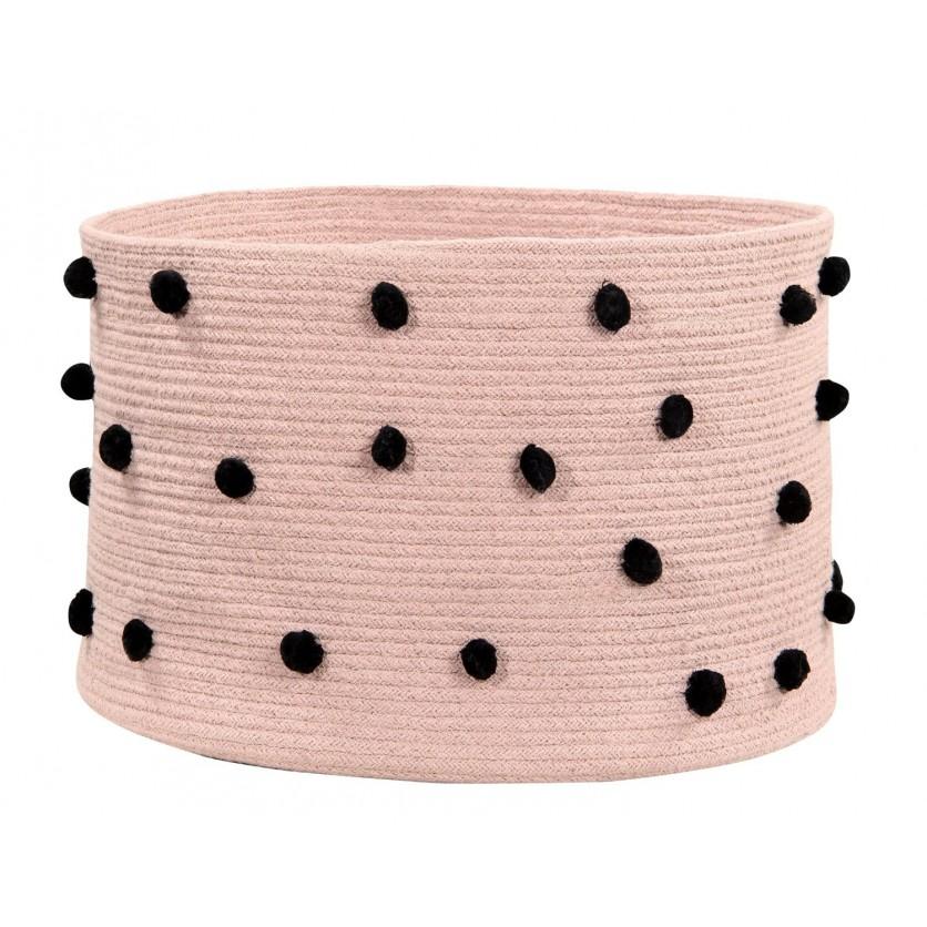 Dziecięcy Kosz na zabawki pleciony - Pebbles Vintage Nude Jasny Róż Lorena Canals dla dziewczynki