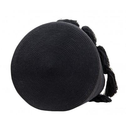 Kosz na zabawki pleciony z frędzlami Tassels Black Czarny Lorena Canals dla dzieci