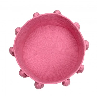 Dziecięcy Kosz na zabawki pleciony z frędzlami Tassels Fuchsia Ciemny Róż Lorena Canals dla dziewczynki