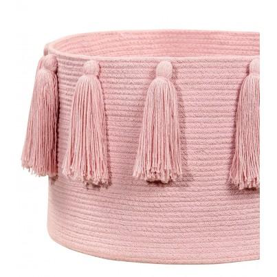 Dziecięcy Kosz na zabawki pleciony z frędzlami Tassels Pink Różowy Lorena Canals dla dziewczynki
