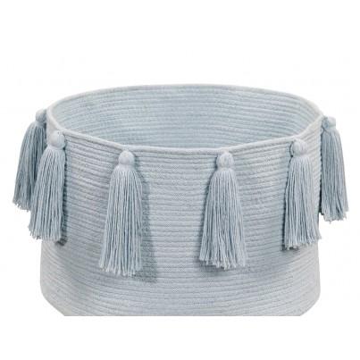 Kosz na zabawki pleciony z frędzlami - Tassels Soft Blue Błękitny Lorena Canals dla dzieci