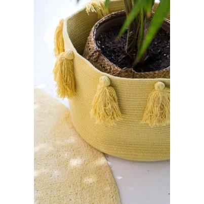 Kosz na zabawki pleciony z frędzlami - Tassels Yellow Zółty Lorena Canals dla dzieci