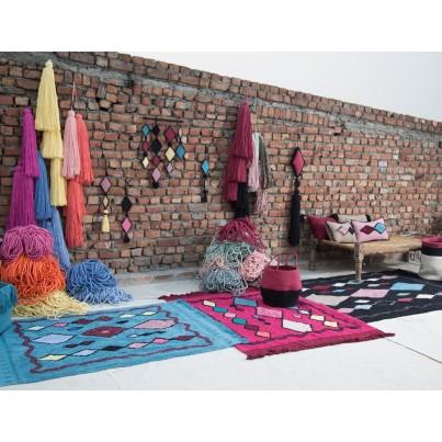Kosz na zabawki pleciony z uszami - Zoco Black/Aubergine Czarno-Bakłażanowy Lorena Canals dla dzieci