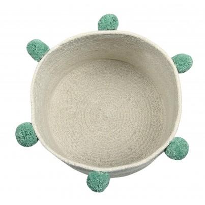 Kosz na zabawki pleciony z pomponami - Natural Green Beżowo-Zielony Lorena Canals dla dzieci