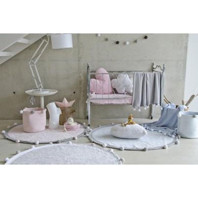 Kocyk bawełniany dla dzieci z pomponami 100x120 - Bubbly Light Grey Lorena Canals do wózka i fotelika