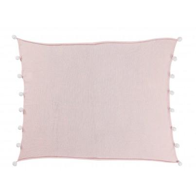Kocyk bawełniany dla dzieci z pomponami 100x120 - Bubbly Soft Pink Lorena Canals do wózka i fotelika