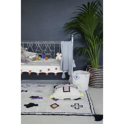Kocyk bawełniany dla dzieci z frędzlami 120x180 - Ombre Grey Lorena Canals do wózka i fotelika