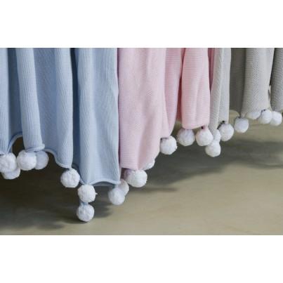 Kocyk bawełniany dla dzieci z pomponami 100x120 - Bubbly Soft Blue Lorena Canals do wózka i fotelika