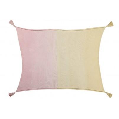 Kocyk bawełniany dla dzieci z frędzlami 100x120 - Ombre Vanilla Soft Pink Lorena Canals do wózka i fotelika