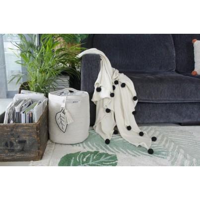 Koc bawełniany z pomponami 120x180 - Natural Black Lorena Canals do wózka i fotelika