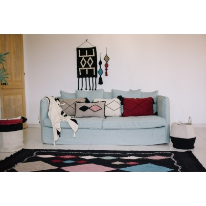 Miękki Koc bawełniany 125x150 - Stripes Natural/Black Lorena Canals