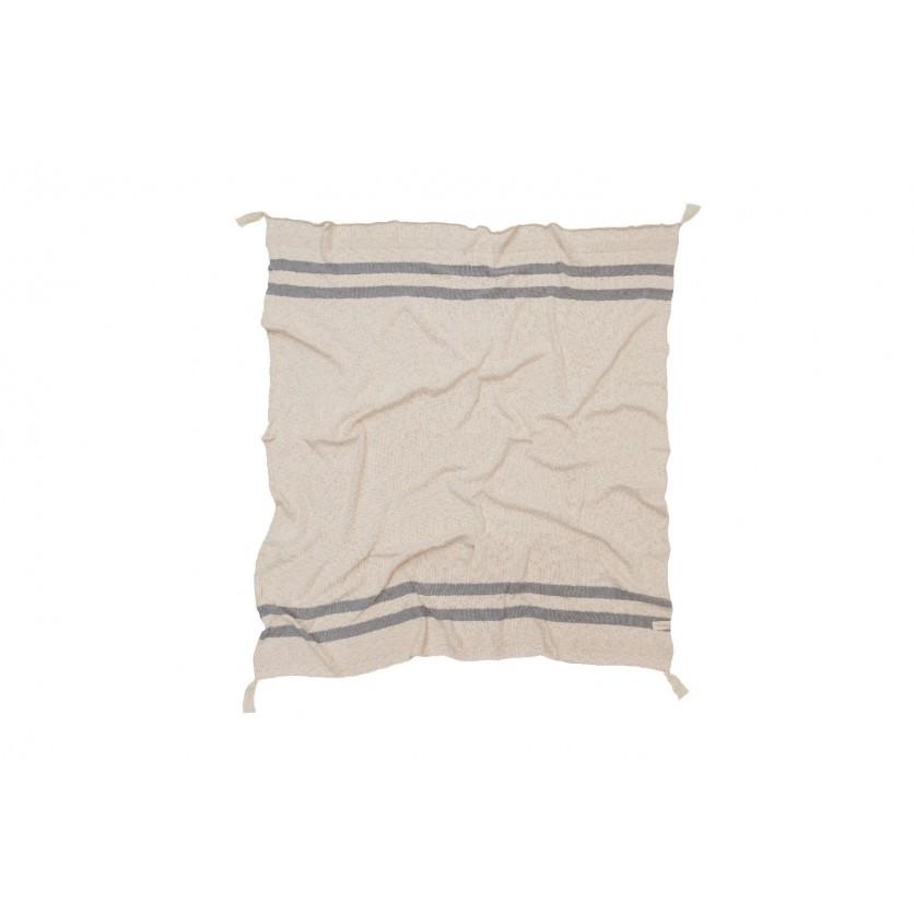Miękki Koc bawełniany 125x150 - Stripes Natural/Grey Lorena Canals
