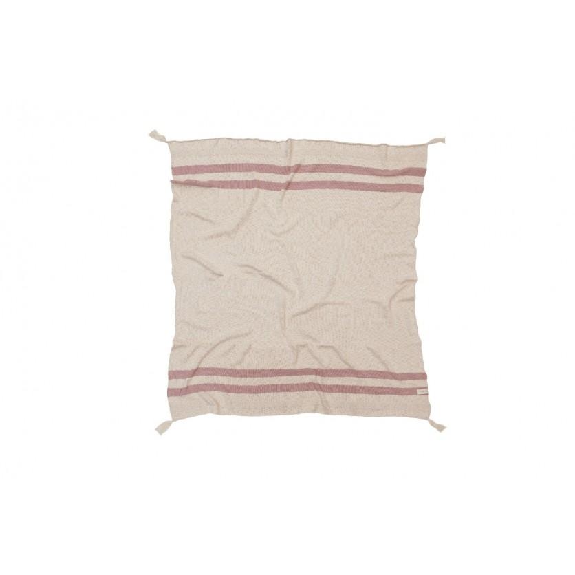 Miękki Koc bawełniany 125x150 - Stripes Natural/Vintage Nude Lorena Canals