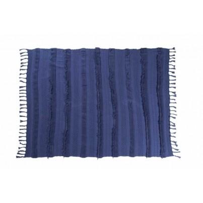 Miękki Koc bawełniany z frędzlami 125x150 - Air Alaska Blue Lorena Canals