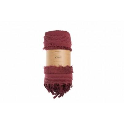 Miękki Koc bawełniany z frędzlami 125x150 - Air Savannah Red Lorena Canals