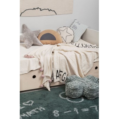 Kocyk bawełniany dla dzieci 100x120 - ABC Natural/Black Lorena Canals do wózka i fotelika