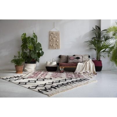 Kocyk bawełniany dla dzieci 125x150 - Stripes Natural/Burgundy Lorena Canals do wózka i fotelika