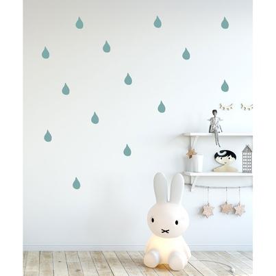 Naklejki na ścianę dla dzieci miętowe Krople Deszczu do pokoju dziecięcego